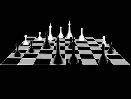 long term: Chess it is black a white board with figures in the long term