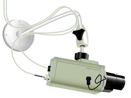 nadzór: Videocamera nadzoru na białym tle