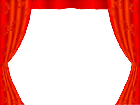portiere: Red curtain a frame on a white background