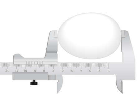 millimeter: The measuring tool and egg on a white background Illustration