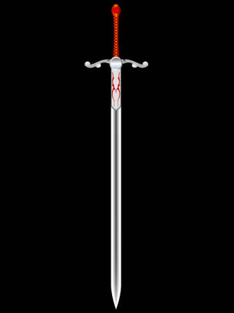 cavalry: Steel sword of the knight on a black background - a vector