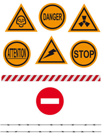 cordon: Signs on an interdiction and the prevention, barbed wire, barrier - a vector Illustration