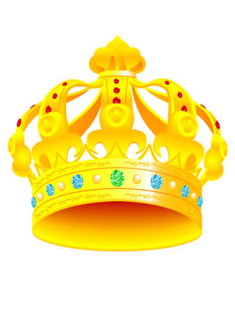 Royal crown with jewels on a white background - a vector