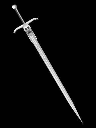 Barbarous sword of death with a skull and horns - a vector