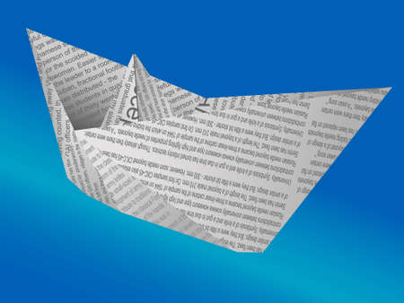 The paper ship from the newspaper - a vector Illustration