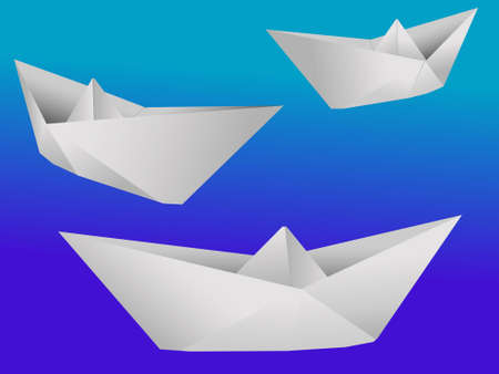fleet: The three paper toy ships - a vector
