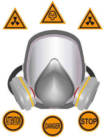 poisoning: Gas mask of chemical and radiating protection in a vector