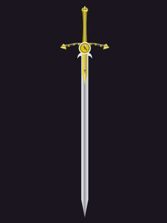 royal person: Gold sword of the king - the soldier in a vector