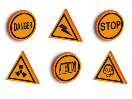 Signs on the prevention of danger in a vector Stock Vector - 2404764