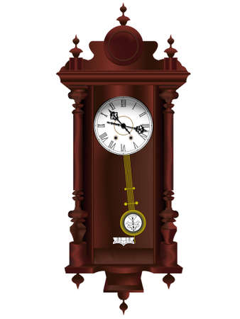 Antiquarian wooden clock with a pendulum in a vector Illustration
