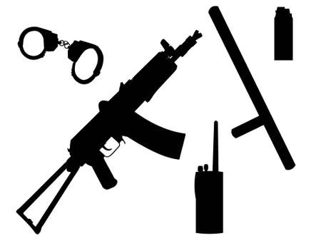 Equipment and arms of the policeman in a vector Vector