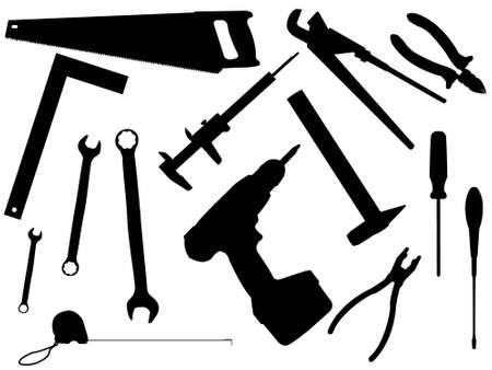 Set of working tools for work and constructions in a vector