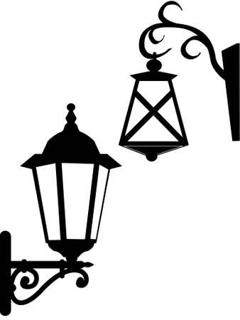 sconce: Calle antiguos faroles de iluminaci�n en un vector