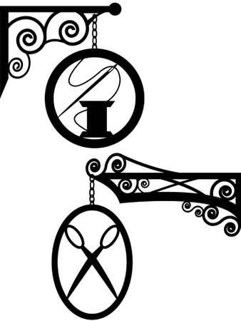 costurera: Antigua calle se�al peluquer�a y costura estudio en un vector