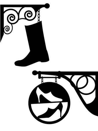 letrero: Antigua calle señal zapatero y la tienda de calzado en un vector