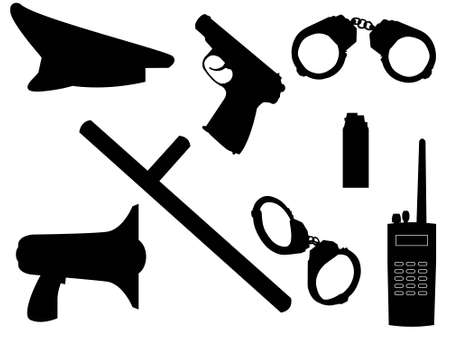 The weapon and equipment of police in a vector Vector