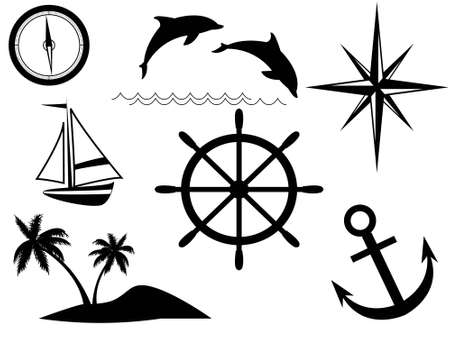 The sea and sea signs in a vector on a white background