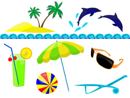 sunburn: Resort and resort beach accessories in a vector