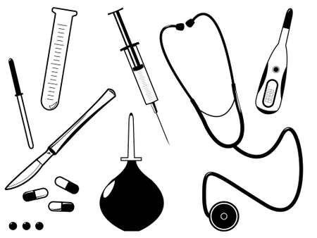 The medical tool of the doctor in a vector