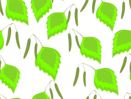 Seamless pattern spring leaves of a birch in a vector Stock Vector - 3018148