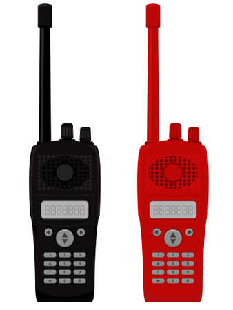 Police portable radio set in a vector Vector