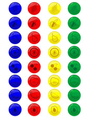 Glass buttons with fruit for WEB in a vector Stock Vector - 3183819