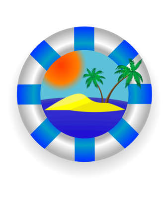 Emblem - a sea lifebuoy ring with tropical island in a vector Stock Vector - 3205886