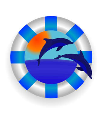Emblem - a sea lifebuoy ring with dolphins in a vector Stock Vector - 3205884