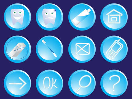 Stomatologic icons of the button - a tooth, a tooth-paste, a string in a vector Vector