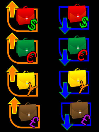 exchange rate: Icon of exchange rate with multi-coloured portfolios in a vector