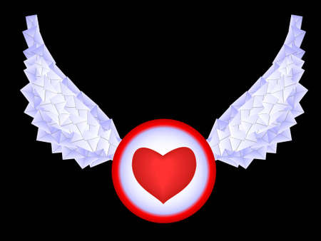 The button, heart with wings from letters in a vector Vector