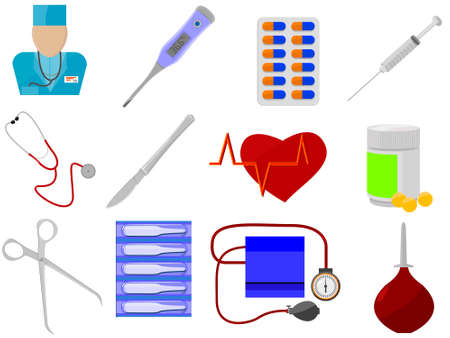 ampoule: Icons for web design - medicine and health in a vector