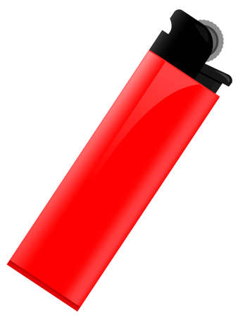 Red lighter for smoking in a vector on a white background Stock Vector - 3376141