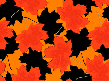 withering: Seamless pattern - autumn falling maple leaves in a vector Illustration
