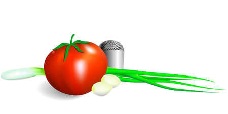 pepperbox: Fresh vegetables for vitamin salad - a tomato, an onions, garlic and salt on a white background in a vector