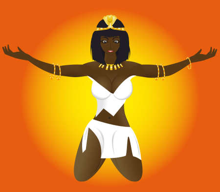 The young erotic beautiful girl priestess of Egypt on a background of the sun in a vector Stock Vector - 4269249
