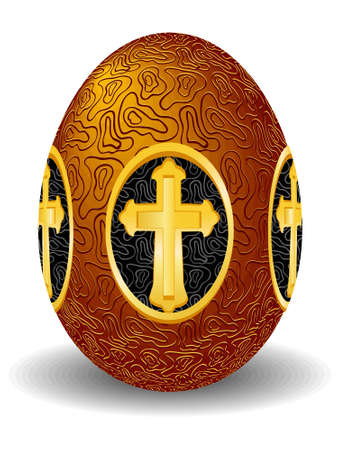 Celebratory easter gold egg with a cross in a vector Stock Vector - 4269250