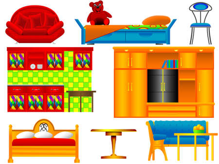 Icons of furniture a case, a bed, a table for a site on sale in a vector Vector