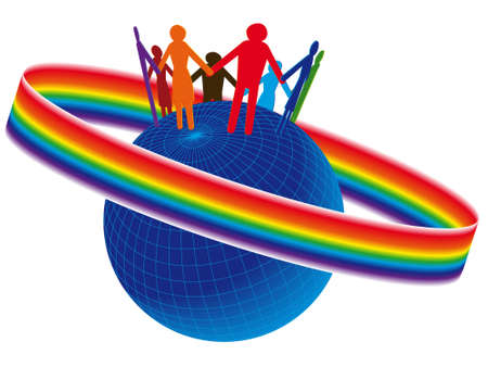 unification: Globe on it friends expressing solidarity and a unification in a vector Illustration