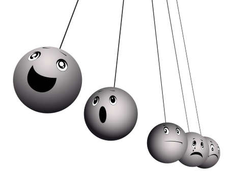 discontent: Balls on strings expressing emotions - happiness, grief, a rage, surprise in a vector isolated on a white background Illustration