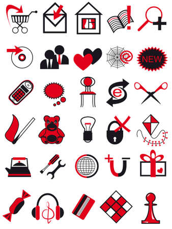 Icons for web design in a vector of red and black color Stock Vector - 4713186