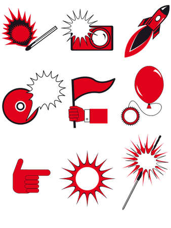 indexes: Icons and buttons in a vector for web design, - various flashes, indexes, a background