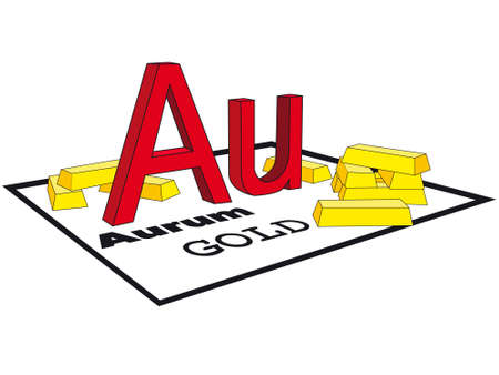 mendeleev: Gold a symbol in a periodic table and ingots in a vector Illustration
