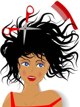 Creation of a hairdress by the hairdresser for the beautiful young girl by means of scissors and a hairbrush in a vector