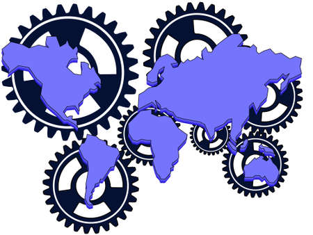 designated: Continents and their interrelation designated by gears in a vector on a white background