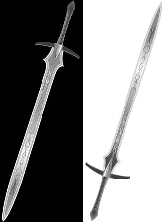 Steel sword of the knight in a vector isolated on a white and black background Illustration