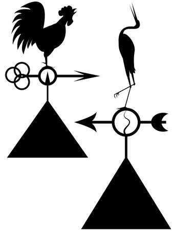 Silhouettes of ancient windvanes in the form of the cock and herons on a roof of the house in a vector Vector