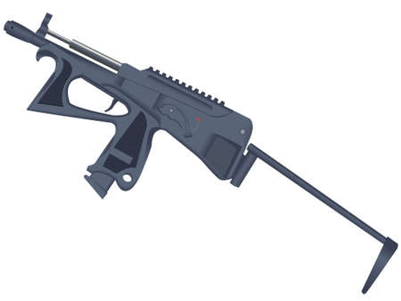 Pistol - a machine gun, the weapon on a white background isolated on a white background in a vector
