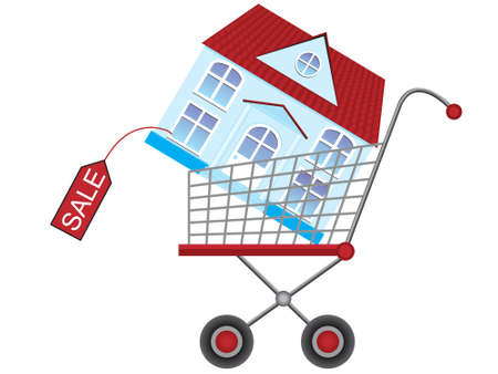 the habitation: Purchase, house, sale, habitation, trade, vector, shop, roof, window, tile, icon, isolated, carriage, crossing, wheel, label, price