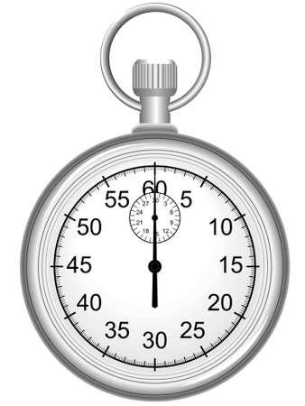 cronometro:  Reloj de la parada de deportes manual en un vector para la medici�n del tiempo aislado en un fondo blanco Vectores